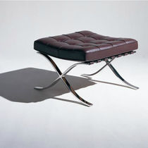 Contemporary footrest / leather / steel / by Ludwig Mies Van Der Rohe