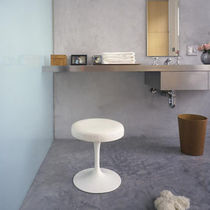 Contemporary stool / leather / cast aluminum / fabric
