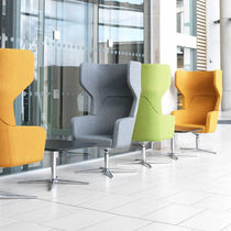 Contemporary visitor armchair / fabric / swivel / with armrests