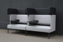 Contemporary upholstered bench / fabric / commercial / high-back