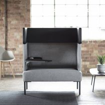 Contemporary visitor armchair / fabric / high-back / tablet