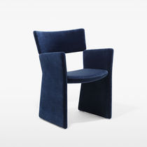 Contemporary armchair / fabric / sled base / tablet