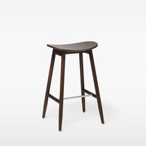 Contemporary bar stool / oak / beech