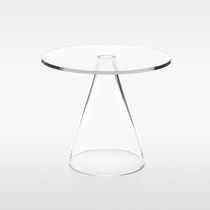 Side table / contemporary / glass / round