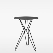High bar table / contemporary / galvanized steel / round
