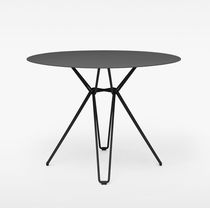Dining table / contemporary / galvanized steel / laminate