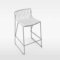 Contemporary bar chair / metal / with removable cushion