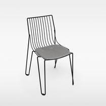 Contemporary chair / with removable cushion / metal / outdoor