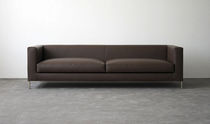 Contemporary sofa / leather / steel / fabric