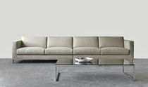 Modular sofa / contemporary / leather / steel
