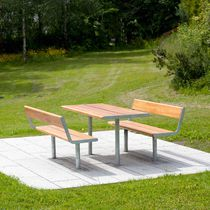 Contemporary table / wooden / galvanized steel / rectangular