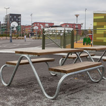 Contemporary picnic table / wooden / COR-TEN® steel / galvanized steel