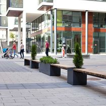 Galvanized steel planter / rectangular / contemporary / for public spaces