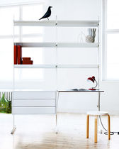 Aluminum desk / contemporary / with storage / with shelf