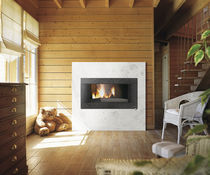 Wood heating stove / contemporary / cast iron / steel