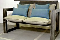 Contemporary sofa / garden / fabric / steel