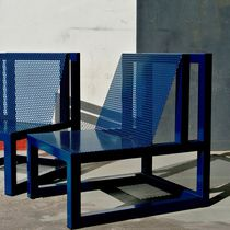 Contemporary armchair / sheet metal / custom / garden
