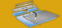 Rectangular shower base / composite / with channel drain / flush