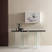 Contemporary sideboard table / glass / bronze / marble