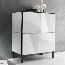 Contemporary sideboard / lacquered glass / white
