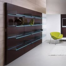 Contemporary bookcase / glass / oak