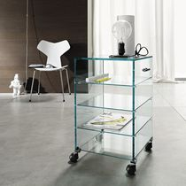 Contemporary TV cabinet / on casters / glass
