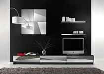 Contemporary TV wall unit / lacquered glass / lacquered wood