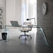 Computer table / contemporary / glass / rectangular