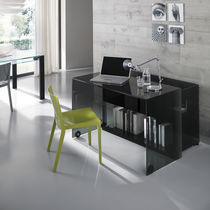 Glass desk / contemporary / with storage