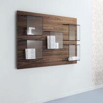 Wall-mounted bookcase / contemporary / glass / wooden