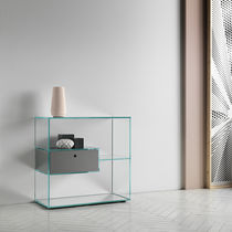 Contemporary shelf / wooden / glass / with drawer