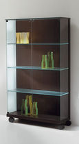 Contemporary display case / glass / oak / on casters