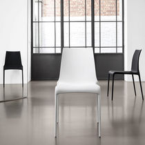 Contemporary chair / stackable / leather / aluminum