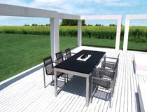 Contemporary dining table / metal / natural stone / rectangular