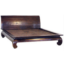 Double bed / traditional / with headboard / teak