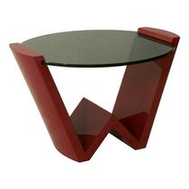 Contemporary side table / glass / round
