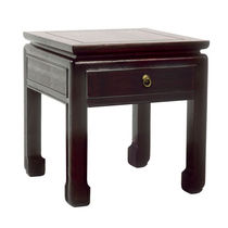 Contemporary side table / wooden / rectangular / with drawer