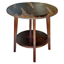 Contemporary side table / wooden / round