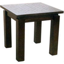 Contemporary side table / mahogany / square