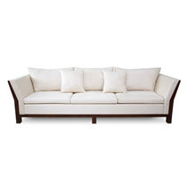 Contemporary sofa / fabric / 3-seater / white