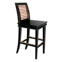 Contemporary bar stool / wooden / black