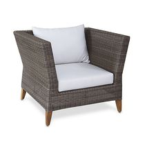 Contemporary armchair / synthetic rattan / garden