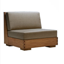 Contemporary fireside chair / wooden / garden