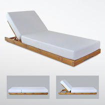 Contemporary sun lounger / wooden / pool / adjustable backrest