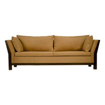 Contemporary sofa / fabric / 2-seater / brown
