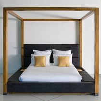 Canopy bed / double / contemporary / upholstered