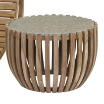 Contemporary coffee table / wooden / round / garden