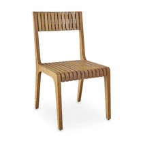 Contemporary garden chair / walnut