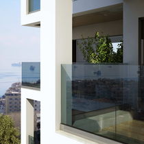 Outdoor railing / glass / with bars / for balconies