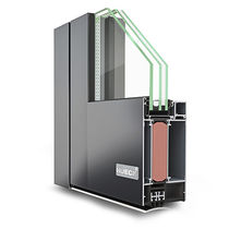 Aluminum door profile / thermally-insulated / fire-rated